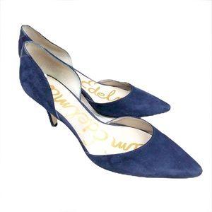 Sam Edelman Blue Suede D'Orsay Pointy Toe Heels